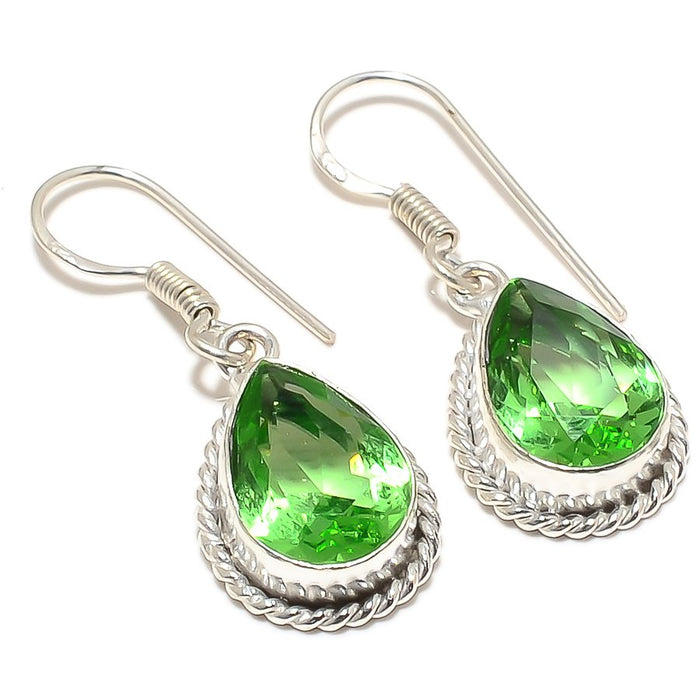 Peridot Gemstone Handmade Ethnic Jewelry Earring 1.6 Inches RJ3276
