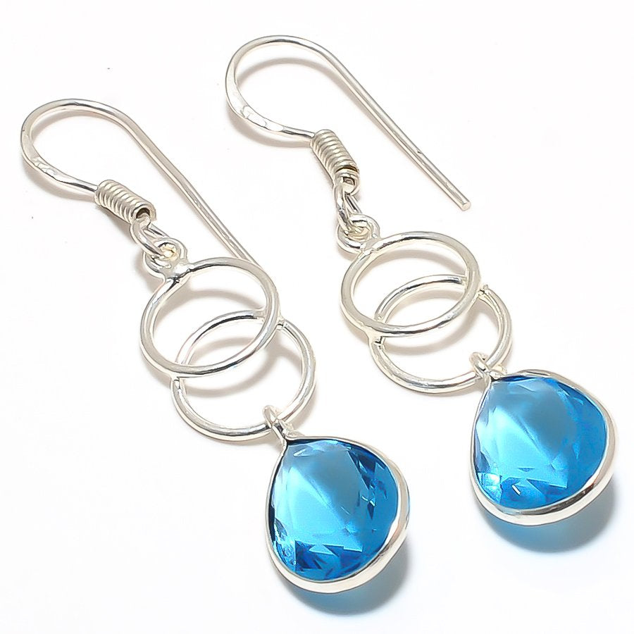 Blue Topaz Gemstone Handmade Jewelry Earring 2.0 Inches RJ3279