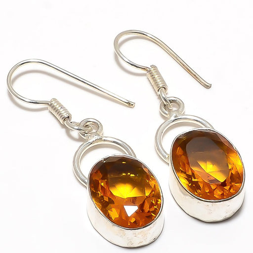 Aaa+++ Citrine Gemstone Handmade Jewelry Earring 1.7 Inches RJ3294