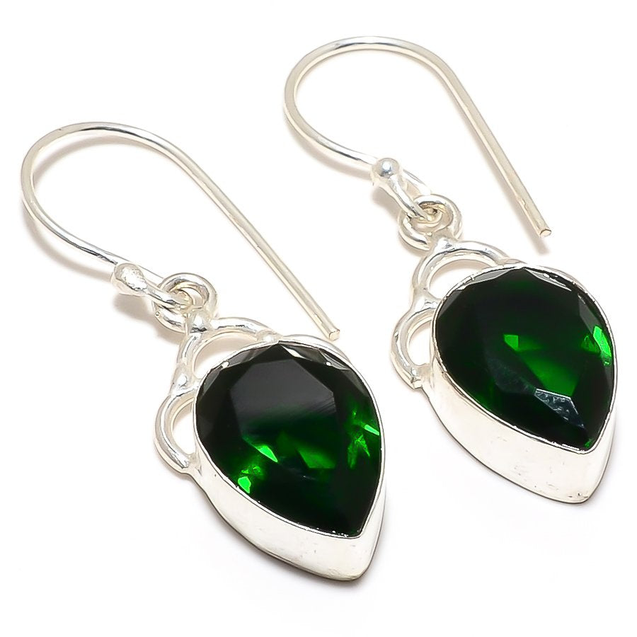 Chrome Diopside Gemstone Ethnic Jewelry Earring 1.6 Inches RJ3296