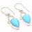 Blue Chalcedony Gemstone Ethnic Jewelry Earring 1.7 Inches RJ3312