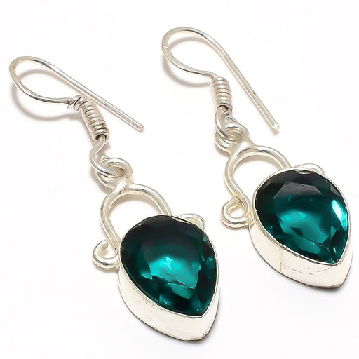 Teal Tourmaline Gemstone Ethnic Jewelry Earring 1.8 Inches RJ3315