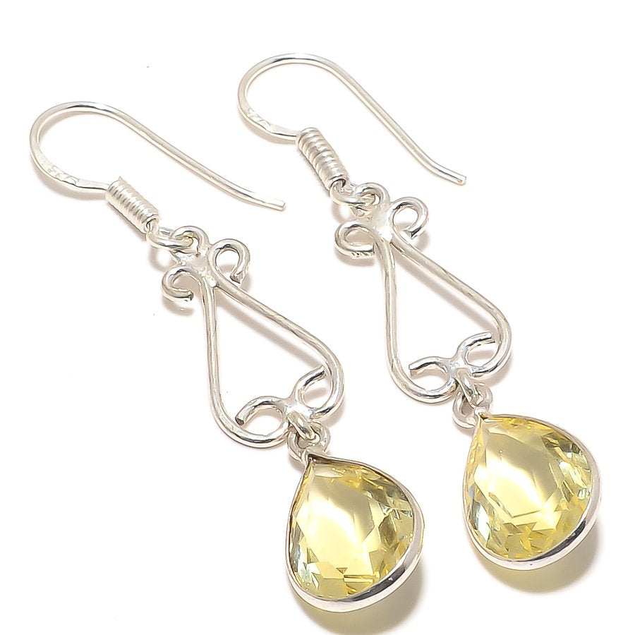 Lemon Topaz Gemstone Handmade Jewelry Earring 2.2 Inches RJ3336