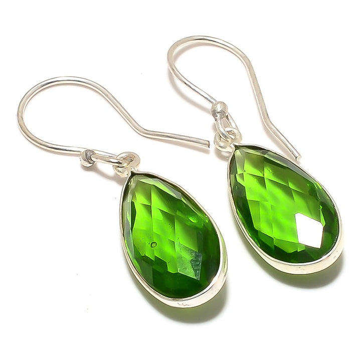 Peridot Gemstone Handmade Ethnic Jewelry Earring 1.6 Inches RJ3337
