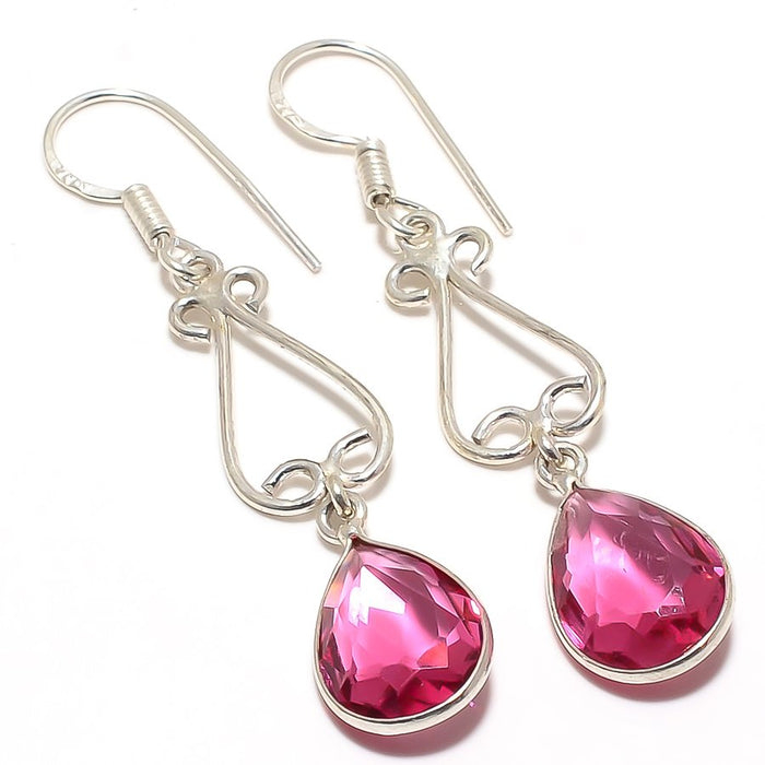 Pink Rubellite Tourmaline Ethnic Jewelry Earring 2.2 Inches RJ3341