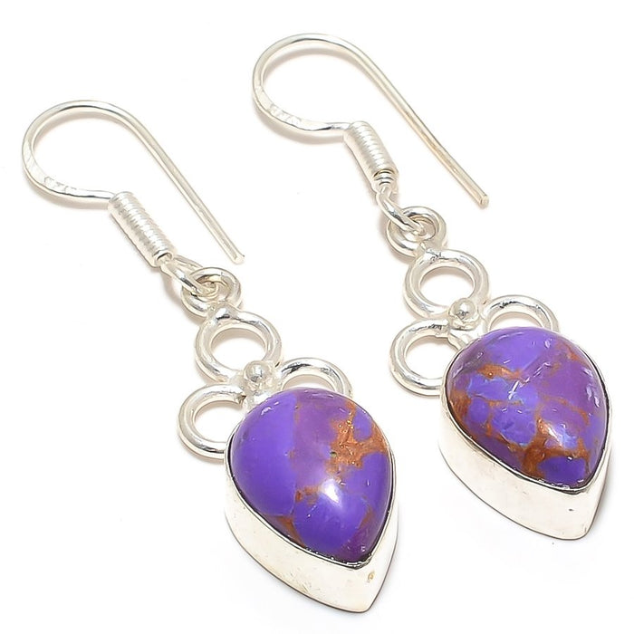 Copper Purple Turquoise Gemstone Jewelry Earring 1.9 Inches RJ3349