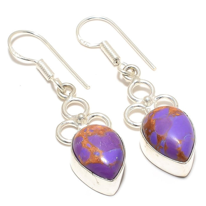 Copper Purple Turquoise Gemstone Jewelry Earring 1.8 Inches RJ3351