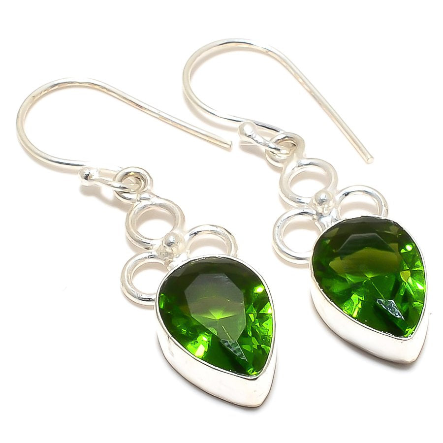 Peridot Gemstone Handmade Ethnic Jewelry Earring 1.7 Inches RJ3375