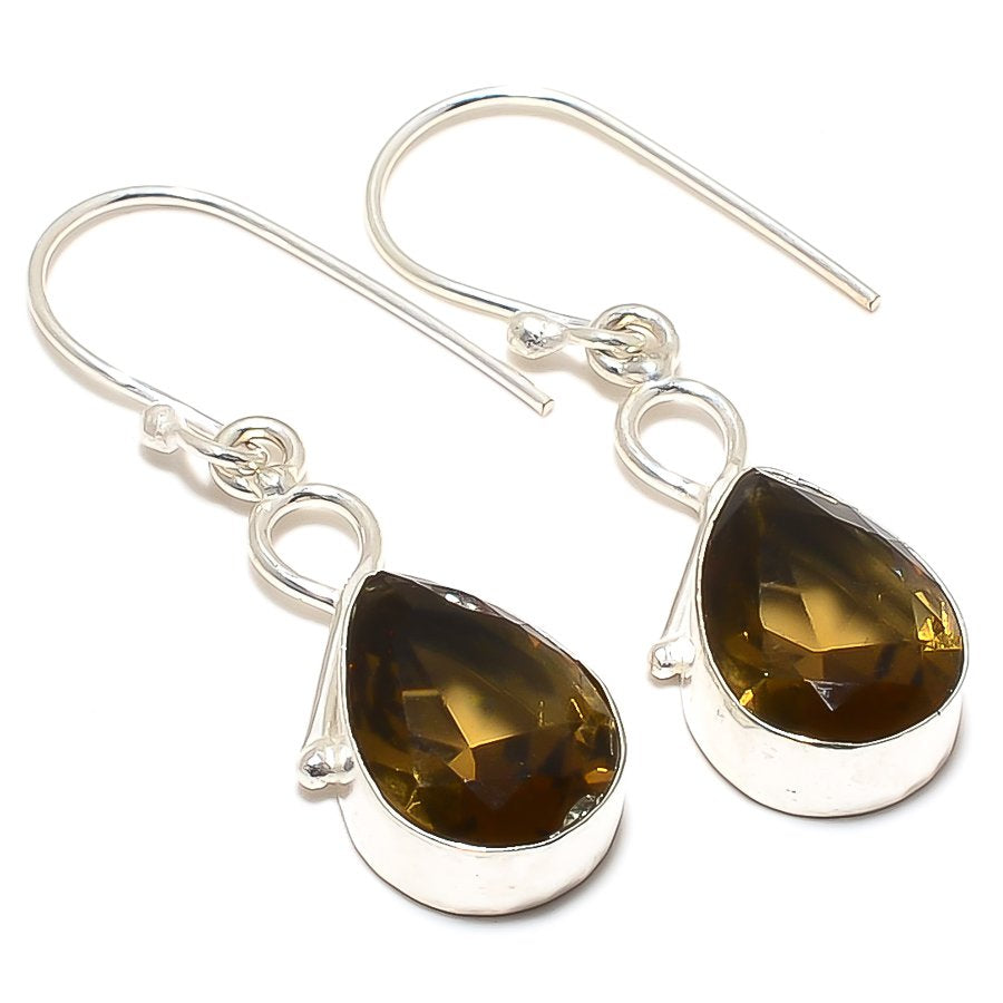 Smokey Topaz Gemstone Handmade Jewelry Earring 1.7 Inches RJ3380