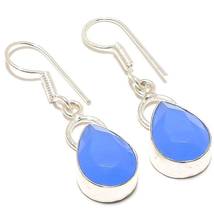 Blue Chalcedony Gemstone Ethnic Jewelry Earring 1.6 Inches RJ3387