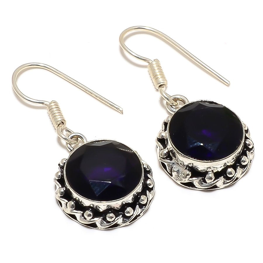 Amethyst Gemstone Handmade Jewelry Earring 1.6 Inches RJ3390