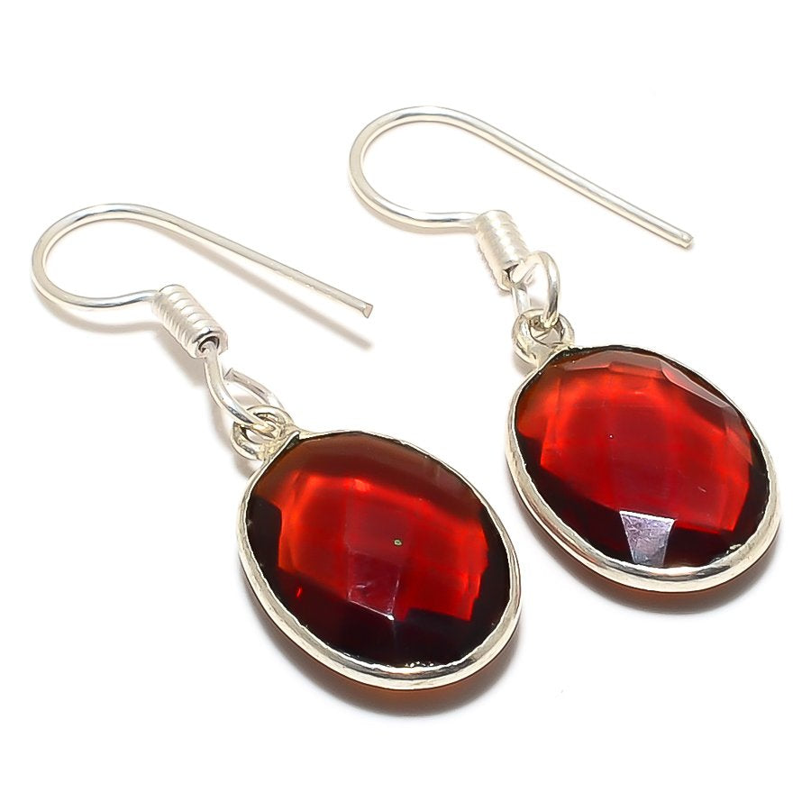 Garnet Gemstone Handmade Ethnic Jewelry Earring 1.6 Inches RJ3391