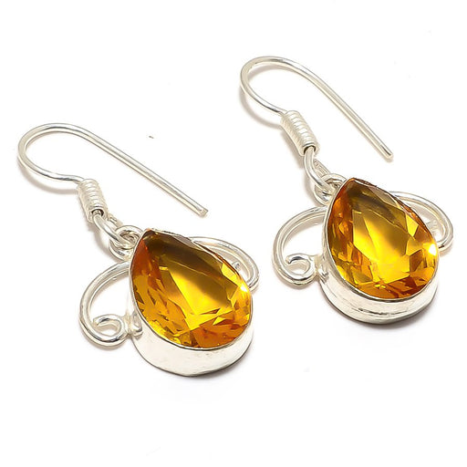 Aaa+++ Citrine Gemstone Handmade Jewelry Earring 1.4 Inches RJ3393