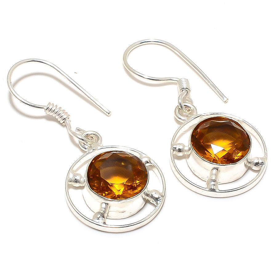 Honey Topaz Gemstone Handmade Jewelry Earring 1.6 Inches RJ3394