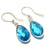 Blue Topaz Gemstone Handmade Jewelry Earring 1.6 Inches RJ3398