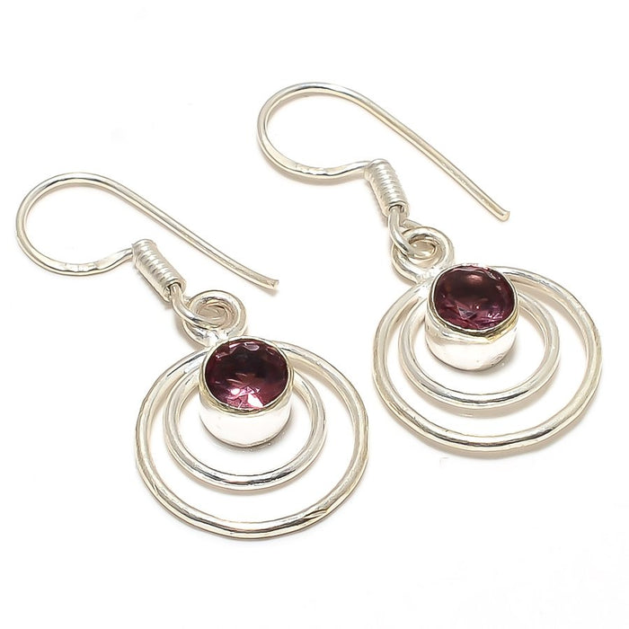 Amethyst Gemstone Handmade Jewelry Earring 1.6 Inches RJ3402