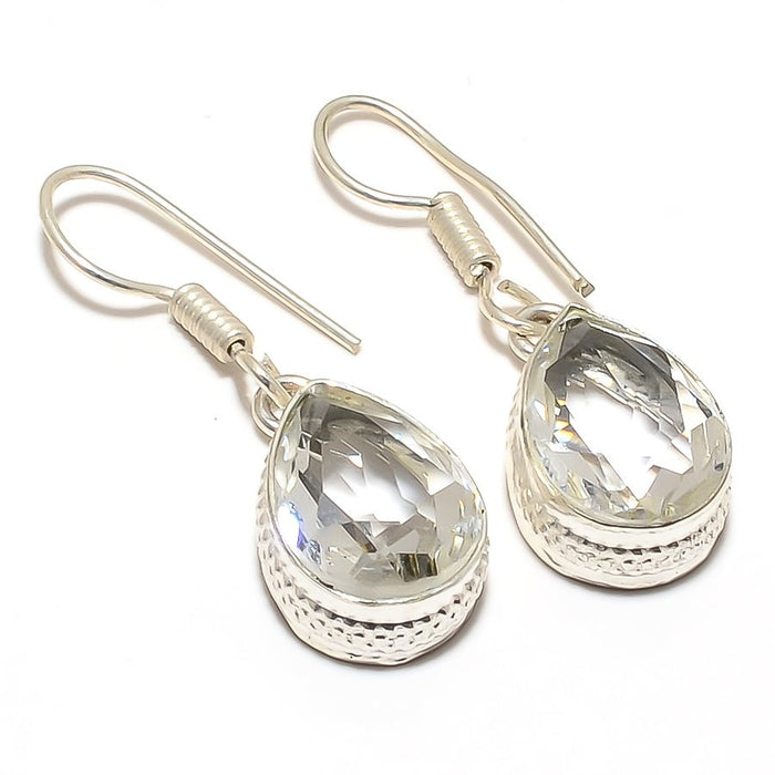 White Topaz Gemstone Handmade Jewelry Earring 1.4 Inches RJ3410