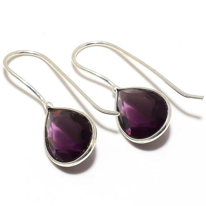 Amethyst Gemstone Handmade Jewelry Earring 1.2 Inches RJ3422