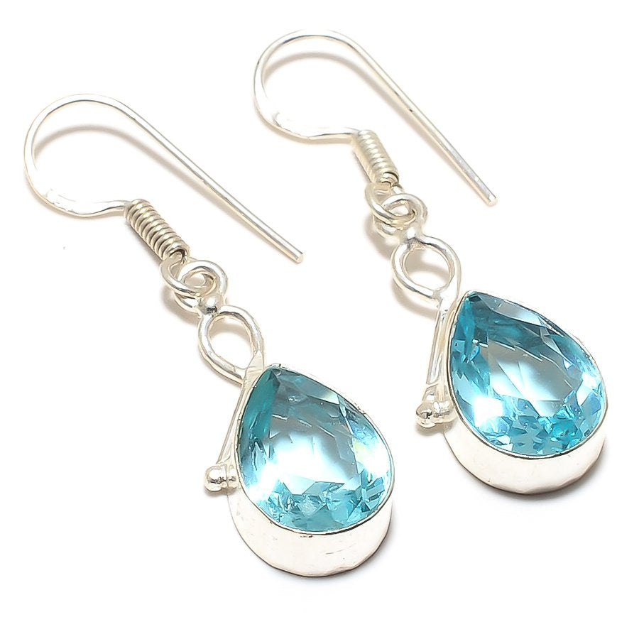 Blue Topaz Gemstone Handmade Jewelry Earring 1.8 Inches RJ3425