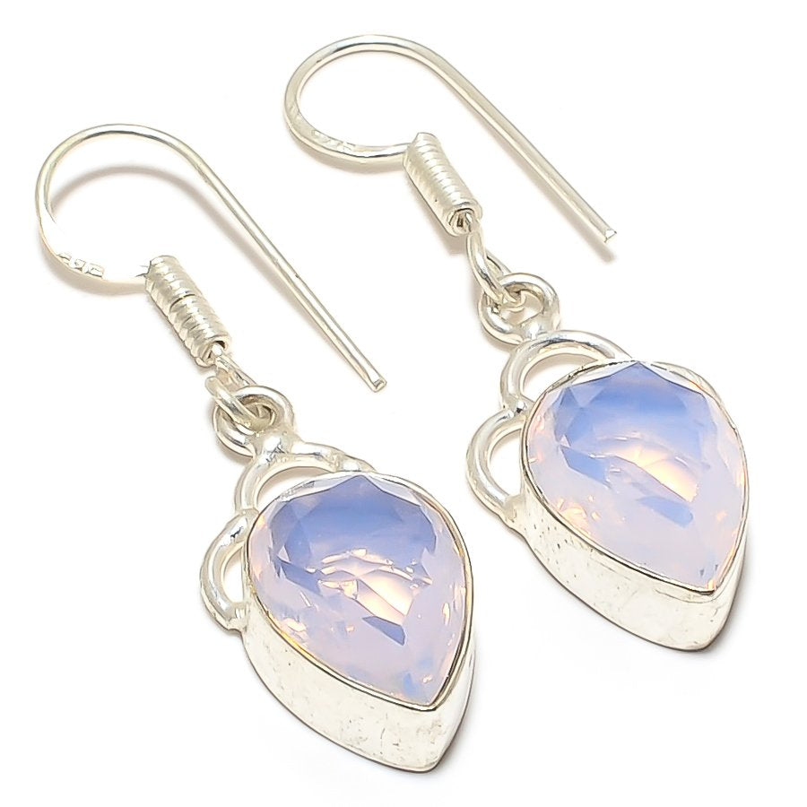 Milky Opal Gemstone Handmade Jewelry Earring 1.7 Inches RJ3433