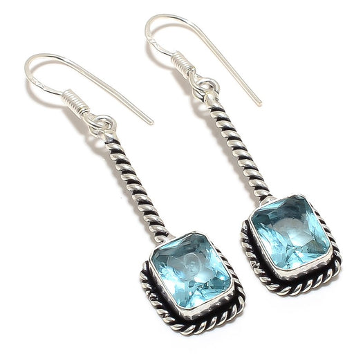 Aquamarine Gemstone Handmade Jewelry Earring 2.1 Inches RJ3438