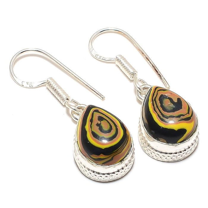 Tiger Calsilica Gemstone Ethnic Jewelry Earring 1.4 Inches RJ3440