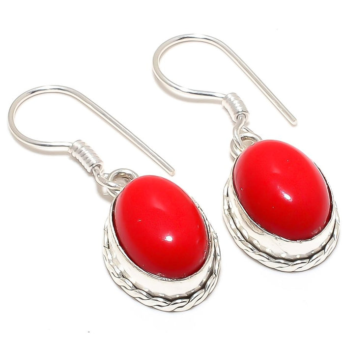 Coral Gemstone Handmade Ethnic Jewelry Earring 1.6 Inches RJ3449
