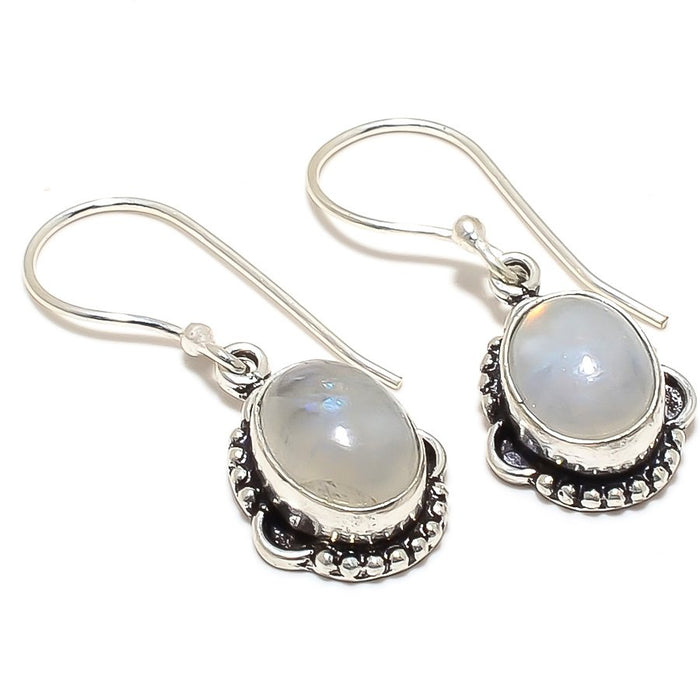 Rainbow Moonstone Gemstone Jewelry Earring 1.3 Inches RJ3464