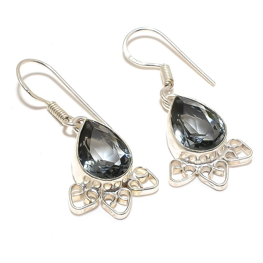 Black Tourmaline Gemstone Ethnic Jewelry Earring 1.6 Inches RJ3468