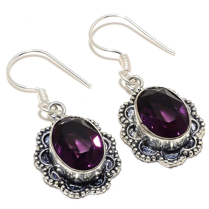 Amethyst Gemstone Handmade Jewelry Earring 1.7 Inches RJ3469