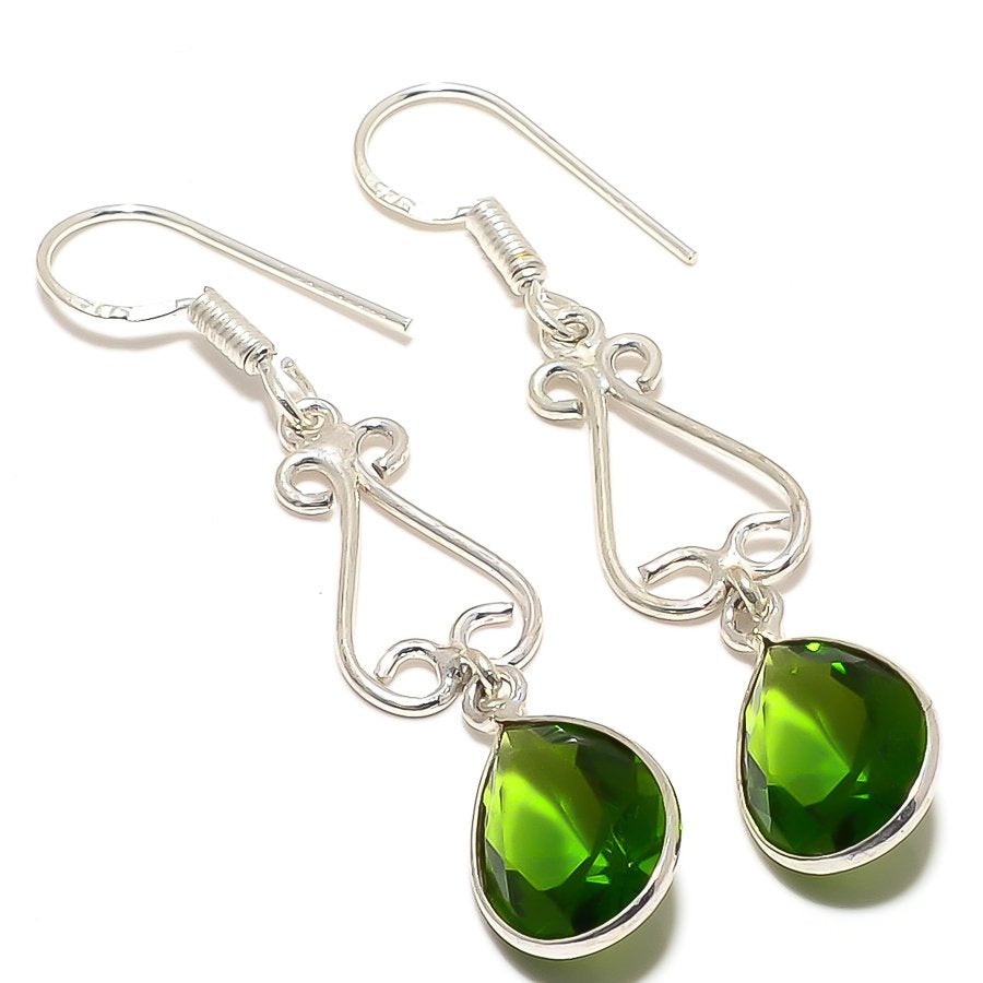 Peridot Gemstone Handmade Ethnic Jewelry Earring 2.2 Inches RJ3475