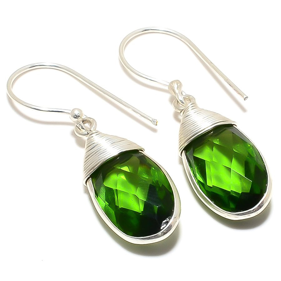 Peridot Gemstone Handmade Ethnic Jewelry Earring 1.6 Inches RJ3477