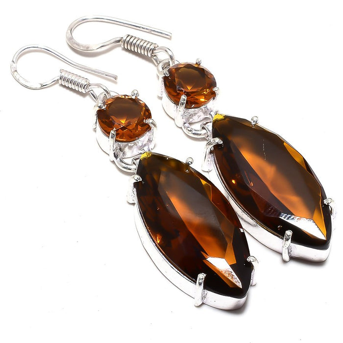 Smokey Topaz Gemstone Handmade Jewelry Earring 2.2 Inches RJ3509