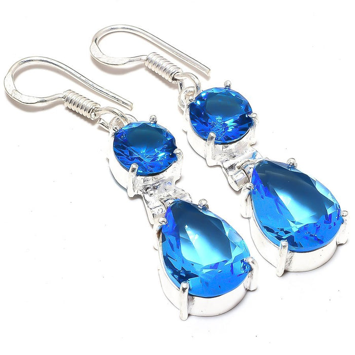Blue Topaz Gemstone Handmade Jewelry Earring 1.8 Inches RJ3513