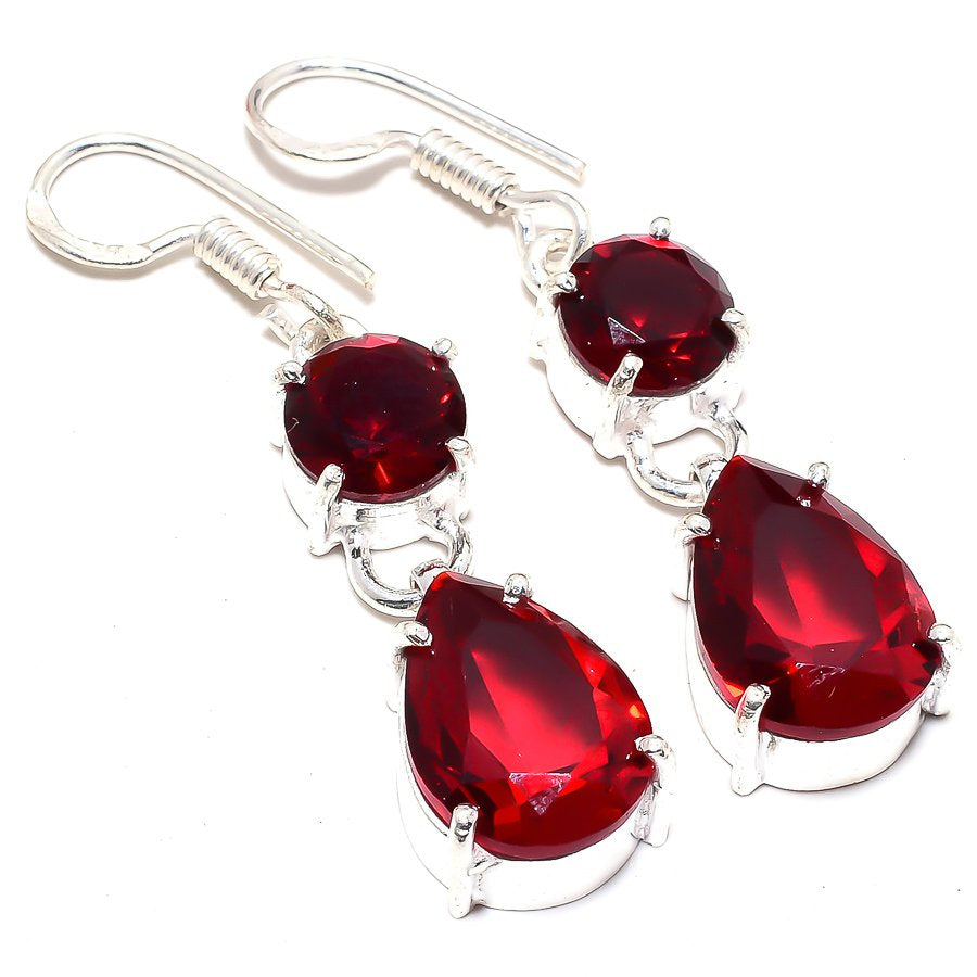Garnet Gemstone Handmade Ethnic Jewelry Earring 1.8 Inches RJ3524
