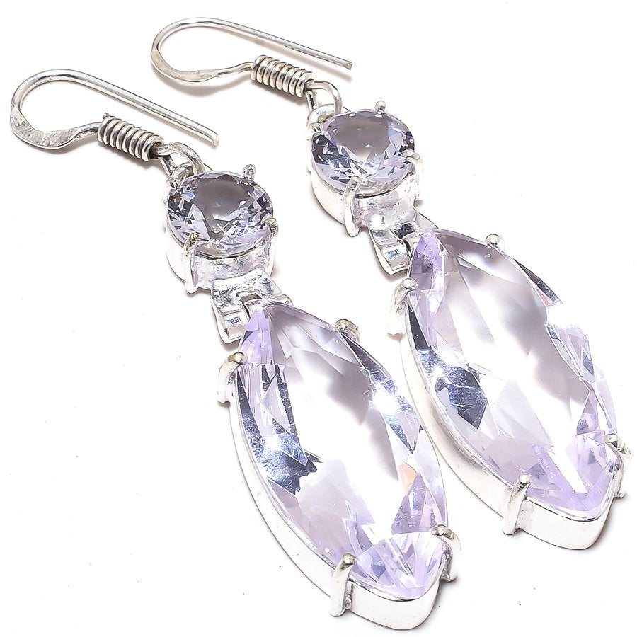Kunzite Quartz Gemstone Handmade Jewelry Earring 2.3 Inches RJ3530