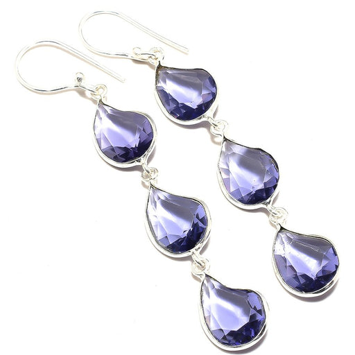 Iolite Gemstone Handmade Ethnic Jewelry Earring 2.9 Inches RJ3535