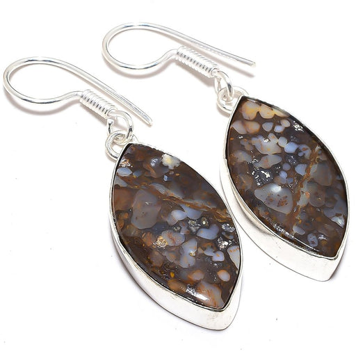 Boulder Opal Gemstone Handmade Jewelry Earring 1.9 Inches RJ3546