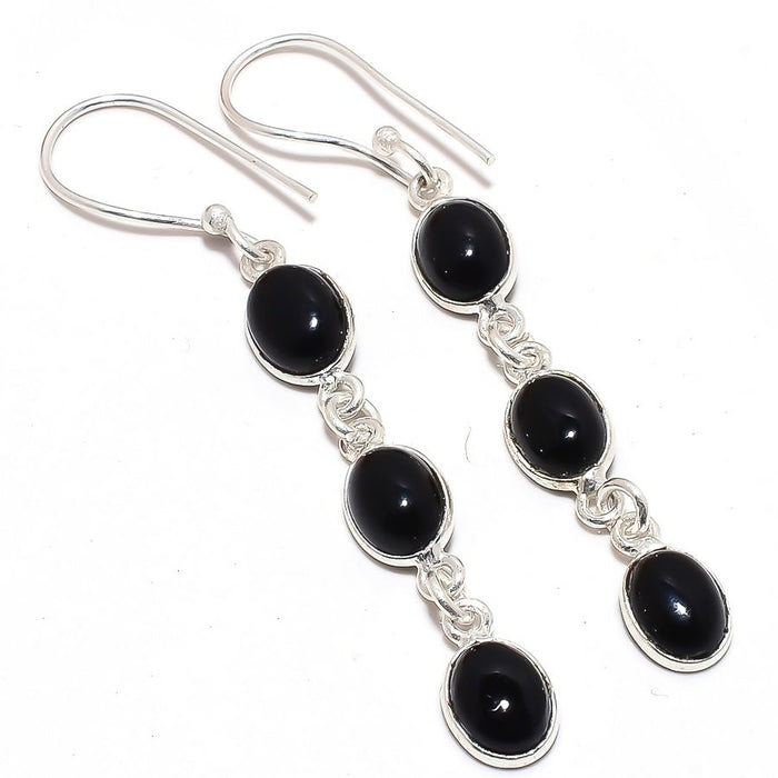 Black Onyx Gemstone Handmade Jewelry Earring 2.3 Inches RJ3547