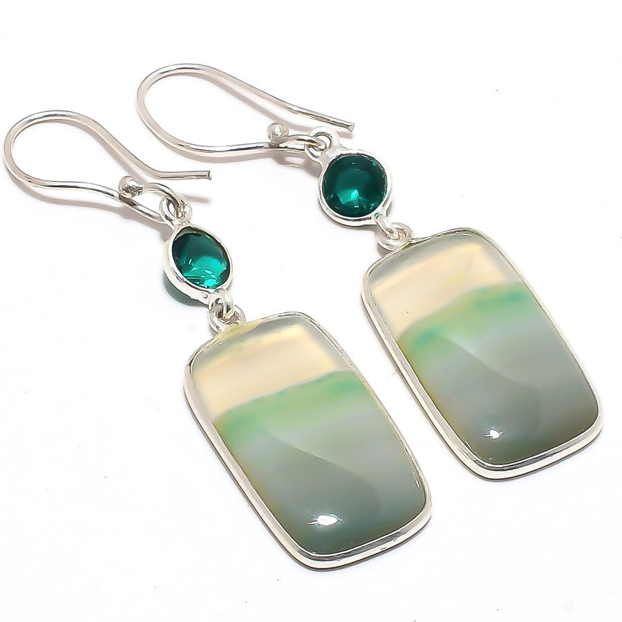 Green Lace Agate Gemstone Ethnic Jewelry Earring 2.2 Inches RJ3560