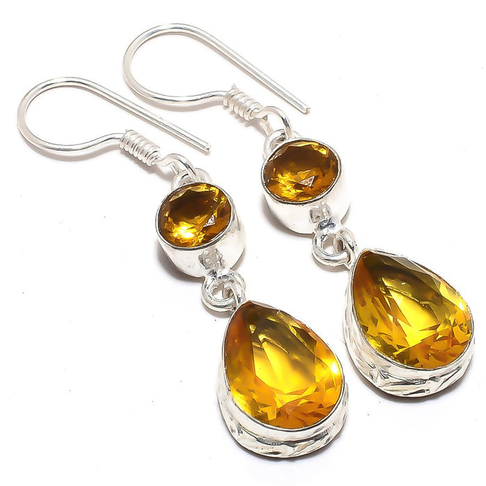 Citrine  Gemstone Handmade Jewelry Earring 2.0 Inches RJ3561
