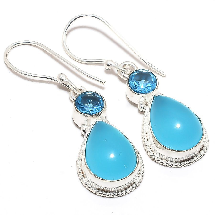 Blue Chalcedony, Blue Topaz Jewelry Earring 1.7 Inches RJ3564
