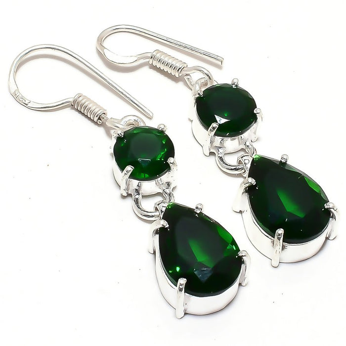 Chrome Diopside Gemstone Ethnic Jewelry Earring 1.8 Inches RJ3571