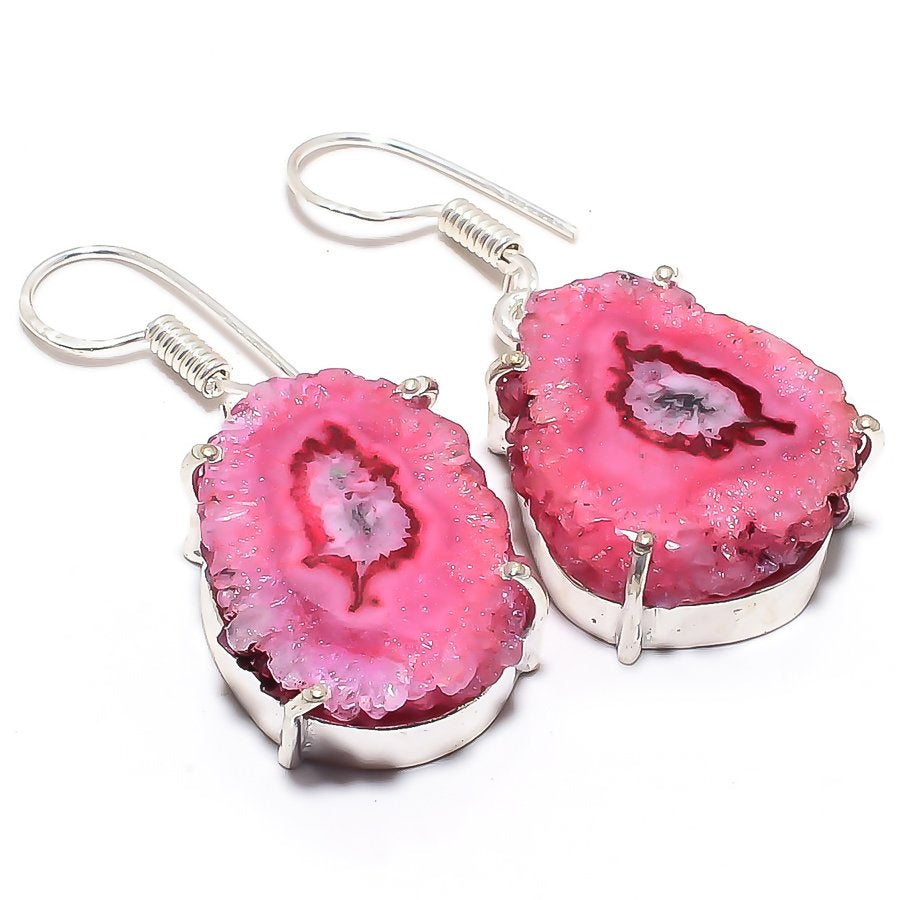 Pink Solar Quartz Druzy Gemstone Jewelry Earring 1.5 Inches RJ3582