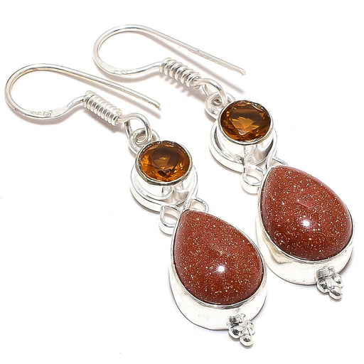 Golden Sunstone, Smokey Topaz Jewelry Earring 2.0 Inches RJ3592
