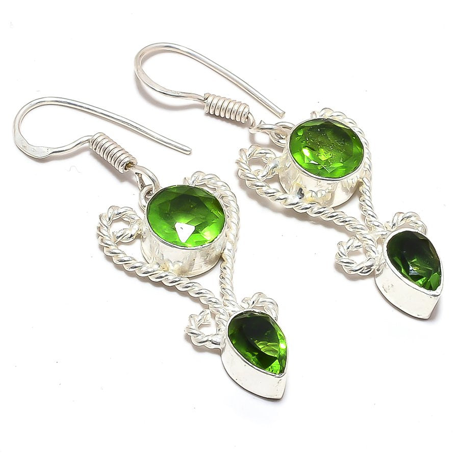Peridot Gemstone Handmade Ethnic Jewelry Earring 1.8 Inches RJ3596