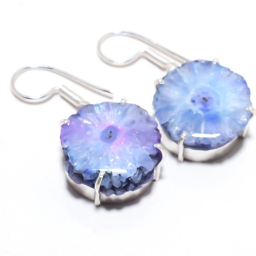 Aqua Solar Quartz Druzy Gemstone Jewelry Earring 1.5 Inches RJ3598