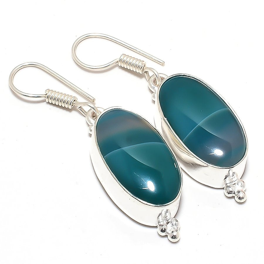 Green Lace Agate Gemstone Ethnic Jewelry Earring 1.8 Inches RJ3616