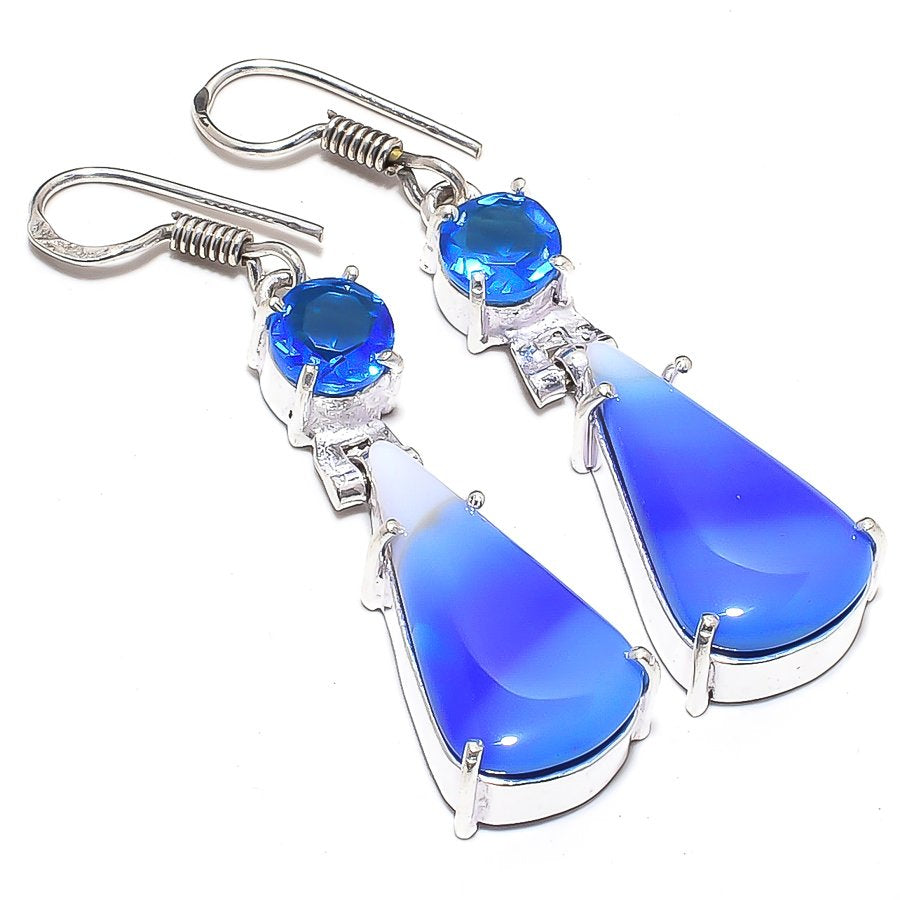 Blue Lace Agate, Blue Topaz Jewelry Earring 2.0 Inches RJ3620