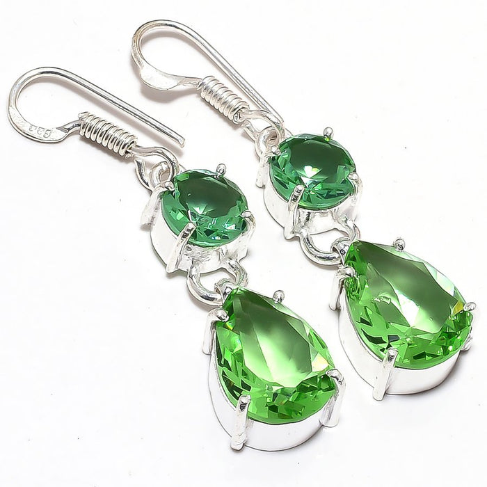 Peridot Gemstone Handmade Ethnic Jewelry Earring 1.8 Inches RJ3635